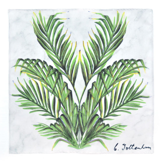 Palm Reflection Palm Love White Marble Silk Square