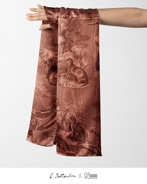 Big Cats Jungle printed Silk Twill Burnt Orange