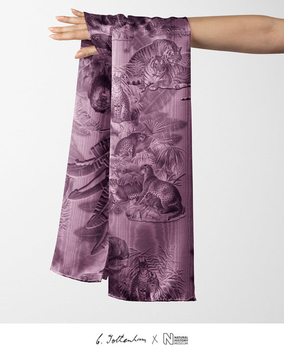 Big Cats Jungle printed Silk Twill Thulian Pink