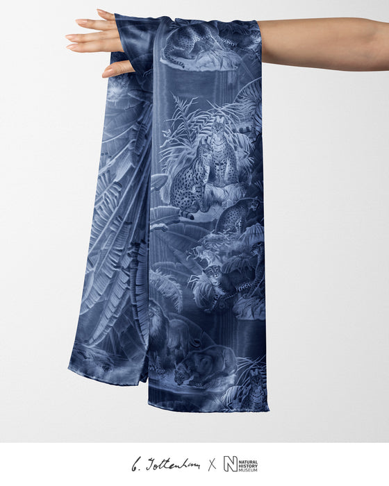 Big Cats Jungle printed Silk Twill Navy