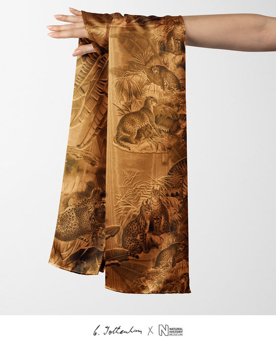 Big Cats Jungle printed Silk Twill Ochre