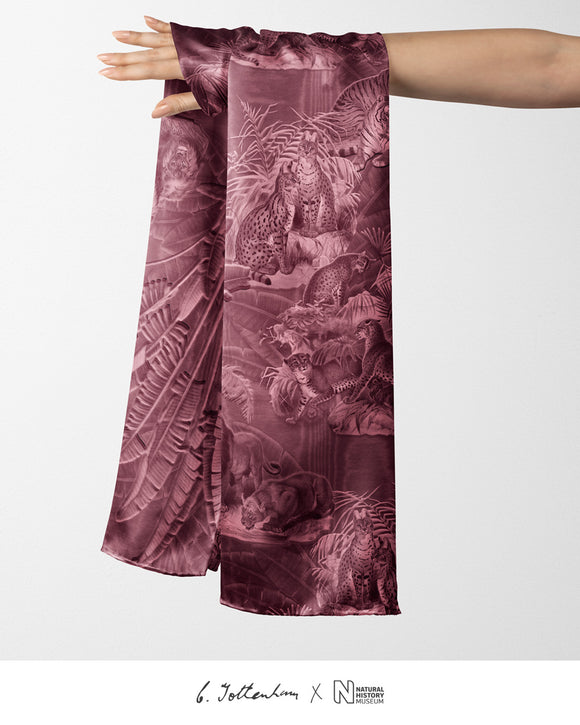 Big Cats Jungle printed Silk Twill Plumeria