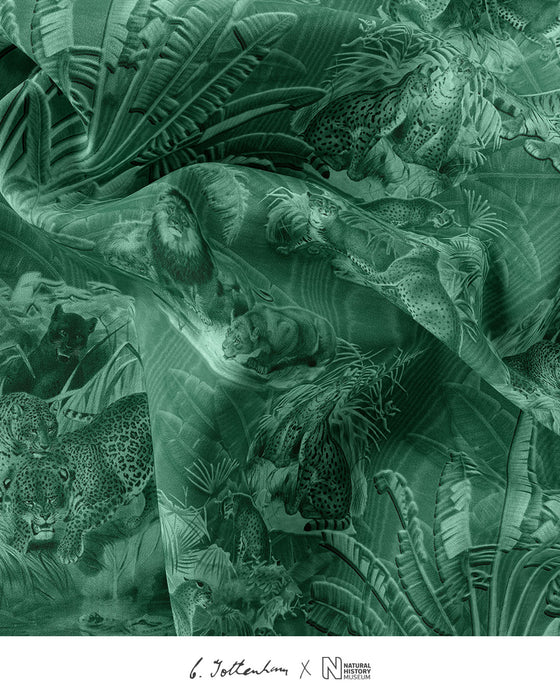 Big Cats Jungle printed Silk Twill Green