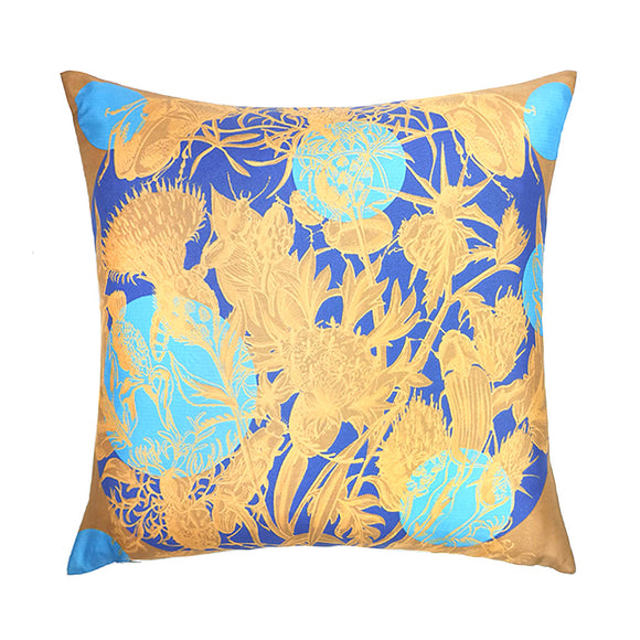 Algarve Sunrise Polka Silk Cushion - Blue