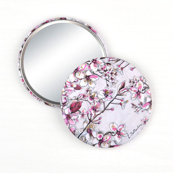 Cherry Blossom Prunus serrulata pocket mirror