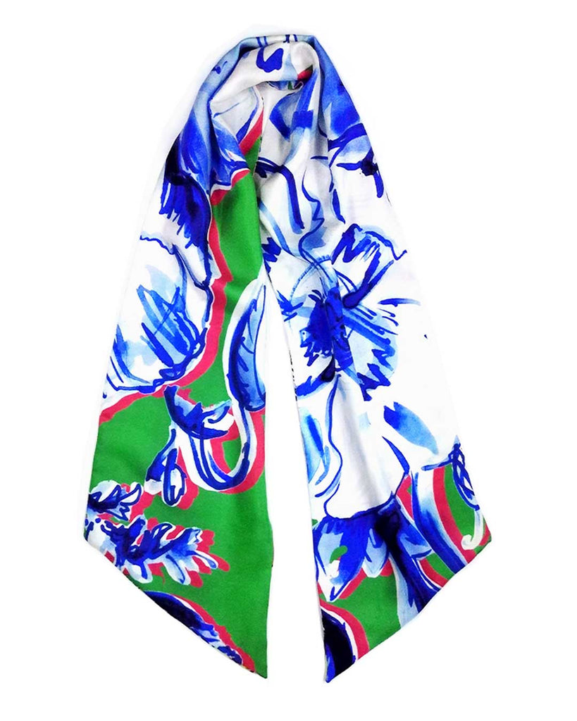 Inky Blue Poppies 'Totty Maxi' Silk Scarf