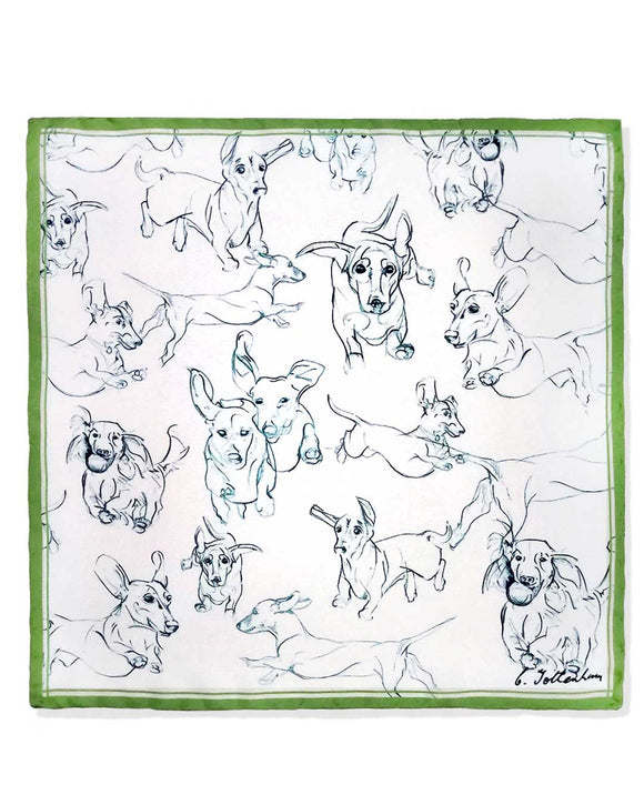 Perfect Silk Pocket Square Set - Dachshunds olive