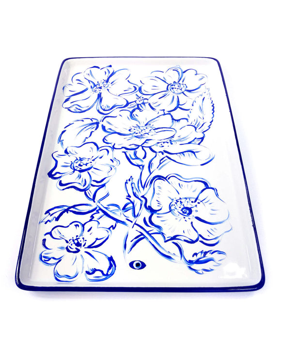 Rectangle platter stoneware vibrant cobalt poppy