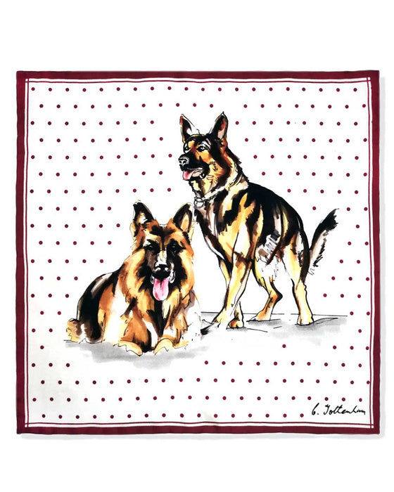 Perfect Silk Pocket Square Set - Alsatian Dog