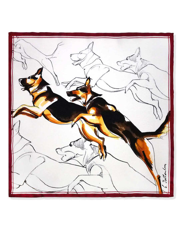 Pocket square set silk twill Alsatian dog