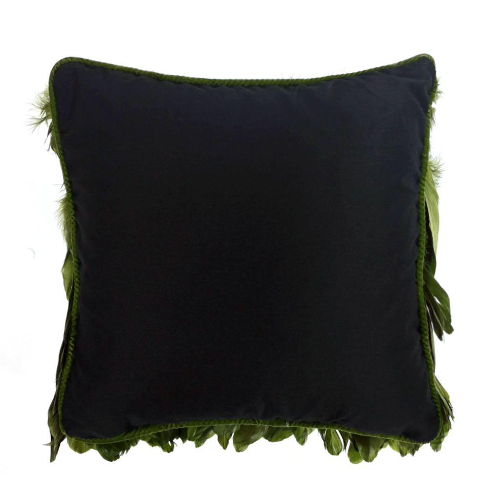 Ruffle One's Feathers Cushion - Treetop Green