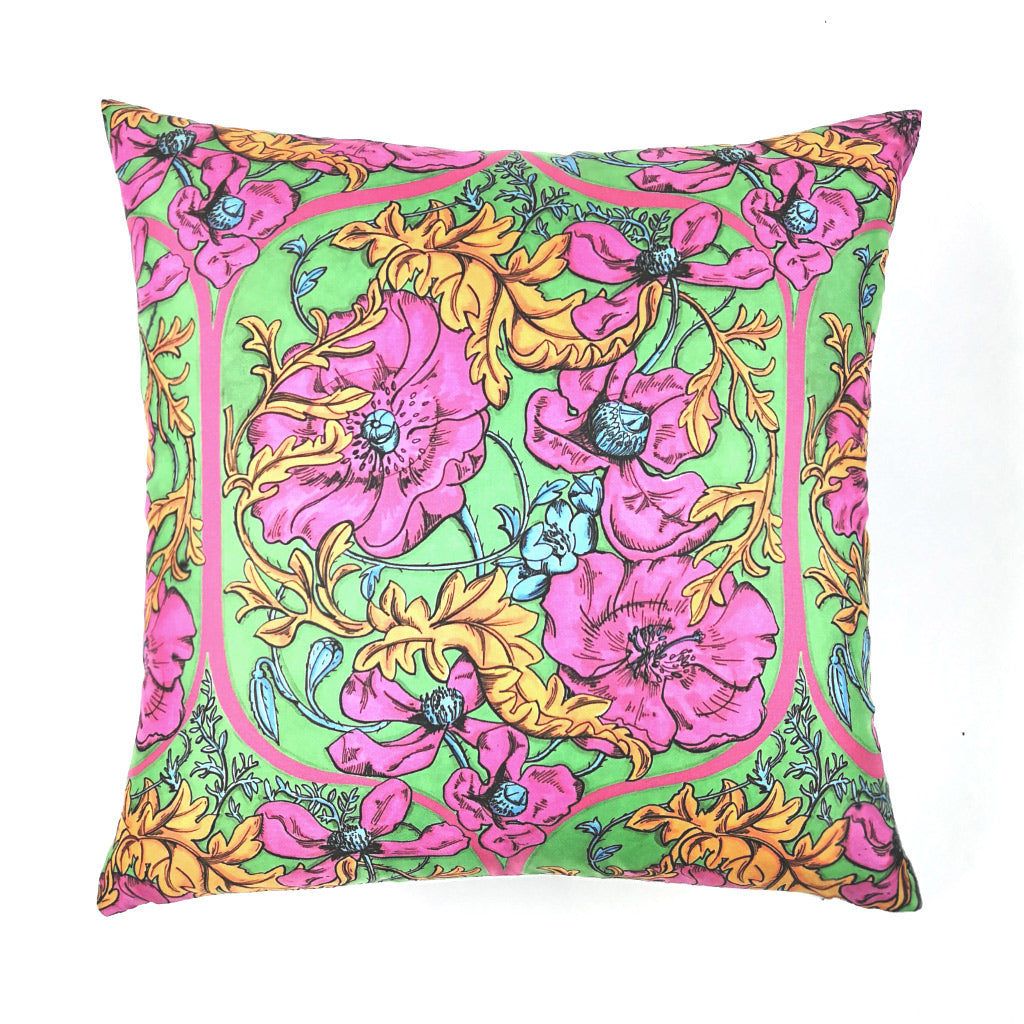 Taj Poppies Silk Cushion - Pink/Green