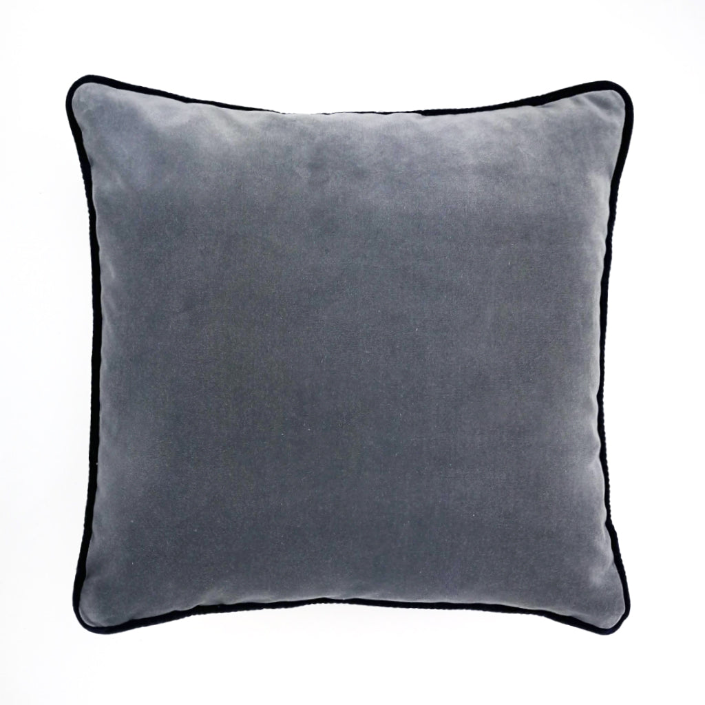 Steel Grey Piped Velvet