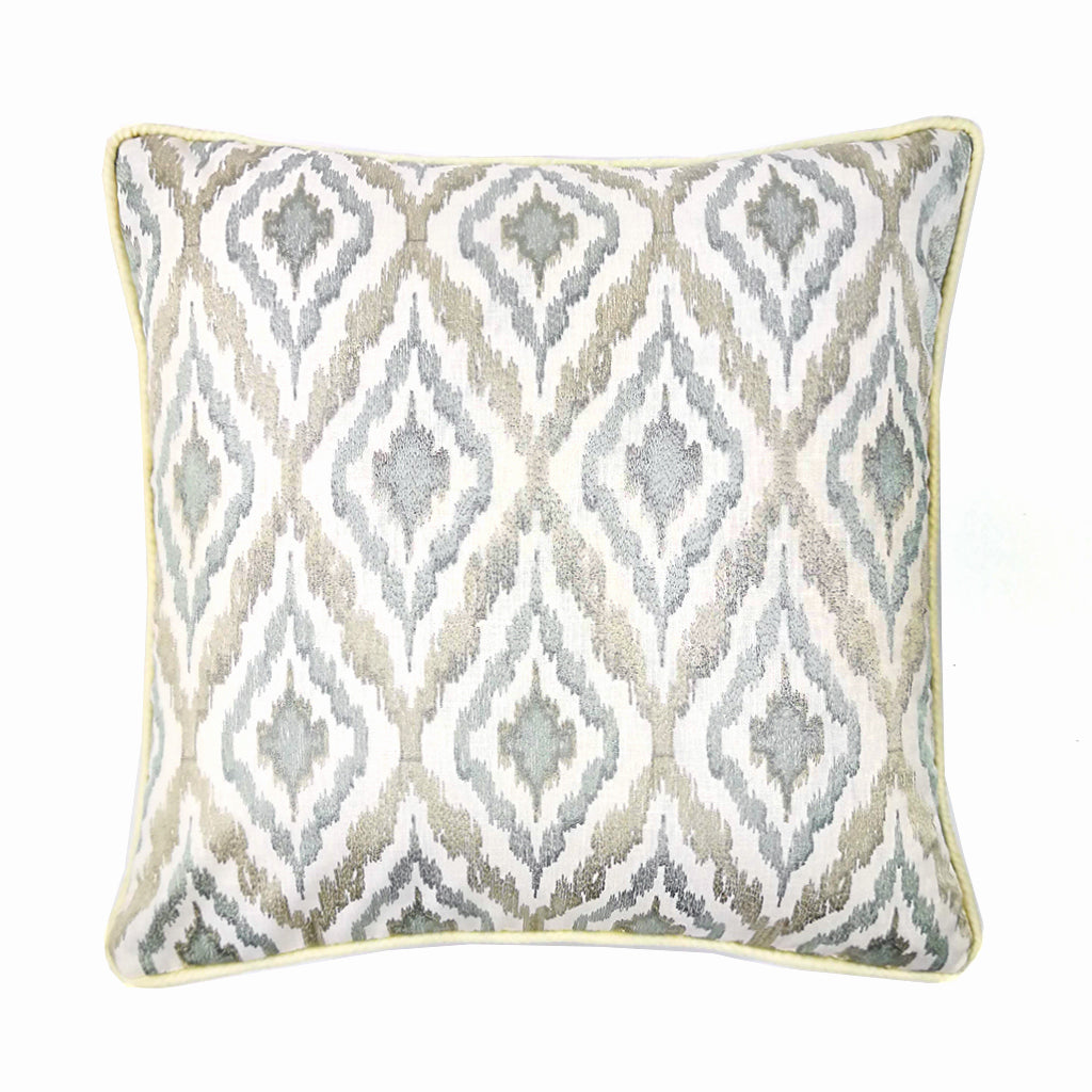 Embroidered Ikat Champagne Jade