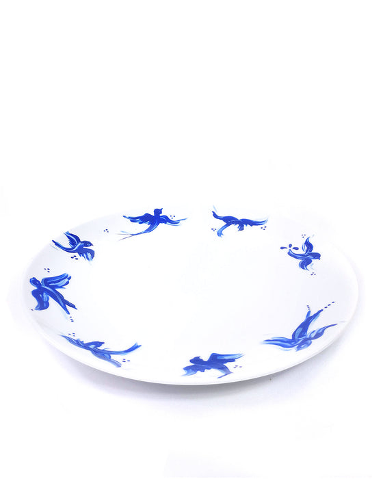 Cobalt Swallow bird border hand painted porcelain plate