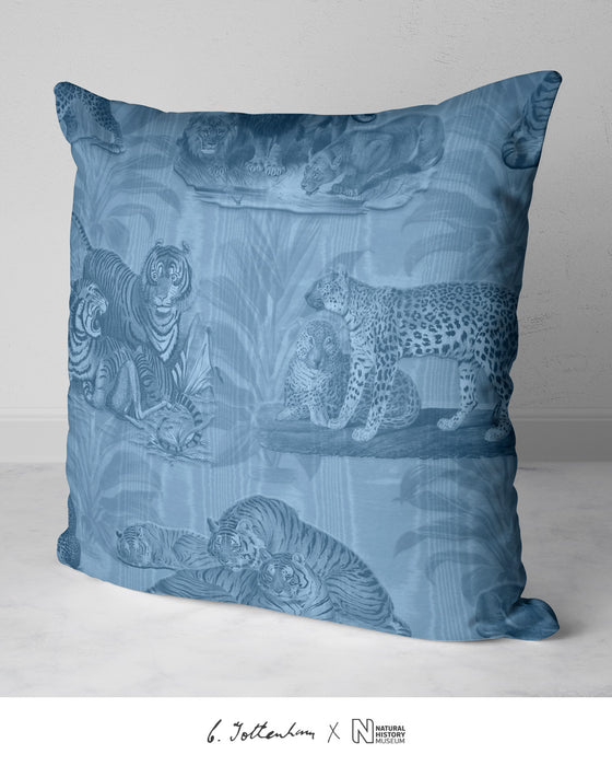 Big Cats Dracaena Leaf Silk Cushion Silver Blue