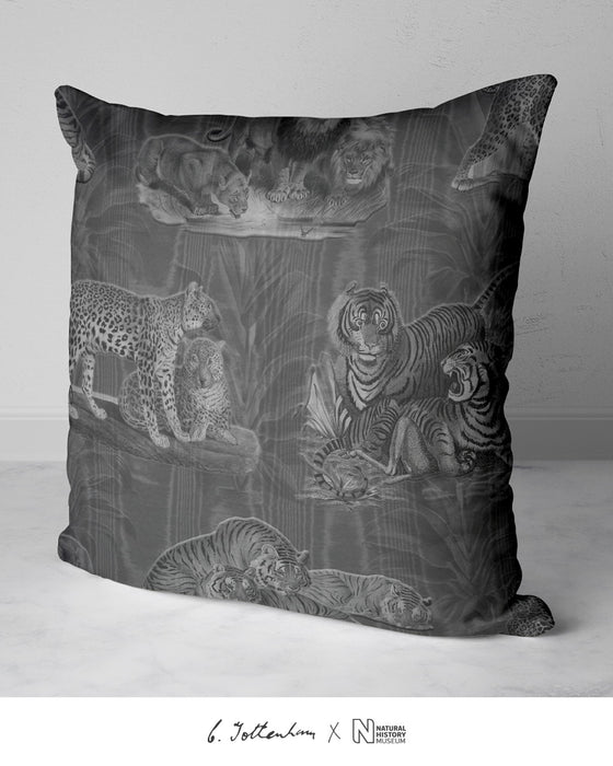 Big Cats Dracaena Leaf Silk Cushion Dark Silver