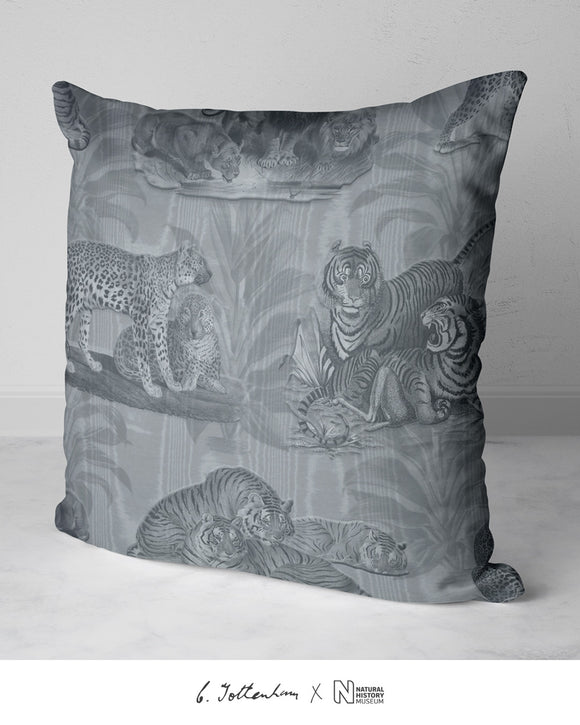 Big Cats Dracaena Leaf Silk Cushion Silver Grey