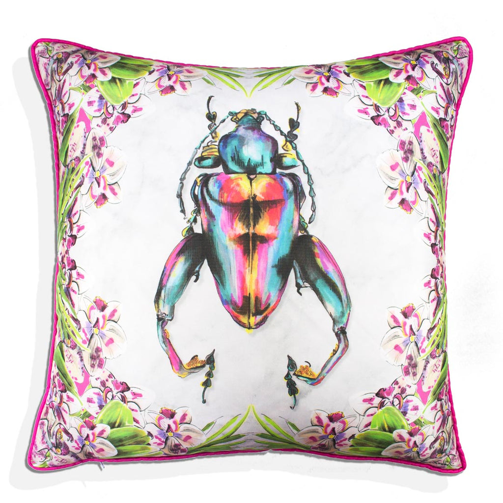 Frog Legged Beetle Silk Cushion
