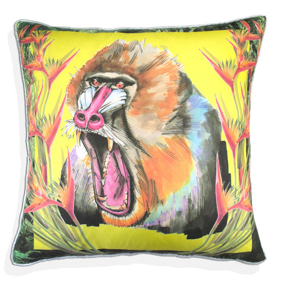 Mandrill Jungle Silk Cushion