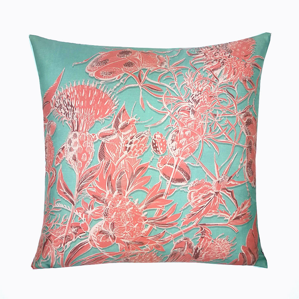 Thistle & Beetles Silk - Turquoise & Celosia