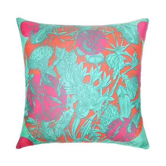 Algarve Sunset Polka Silk Cushion - Orange