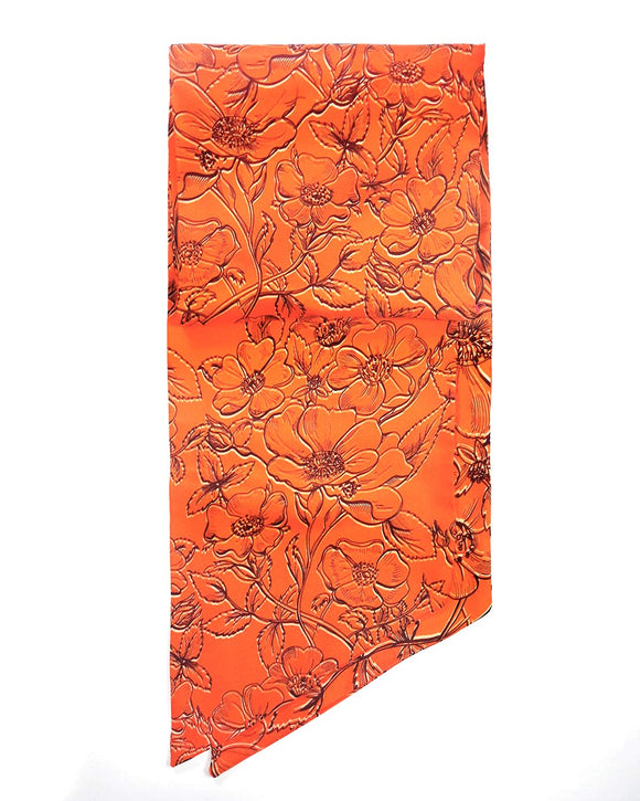 Marigold Orange floral silk scarf handmade England UK United Kingdom Fashion Thin Scarf Silk neon bracelet silk purse bag handle pussybow pussy bow silk hair wrap floral repeat, fancy scarf