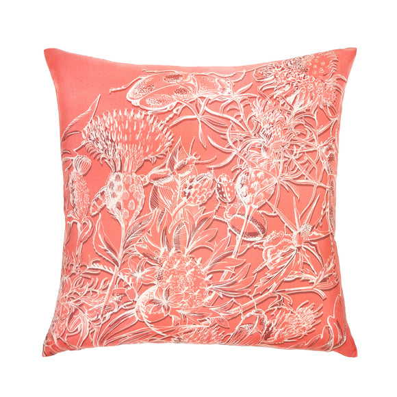 Thistle & Beetles Silk Cushion - Celosia Orange