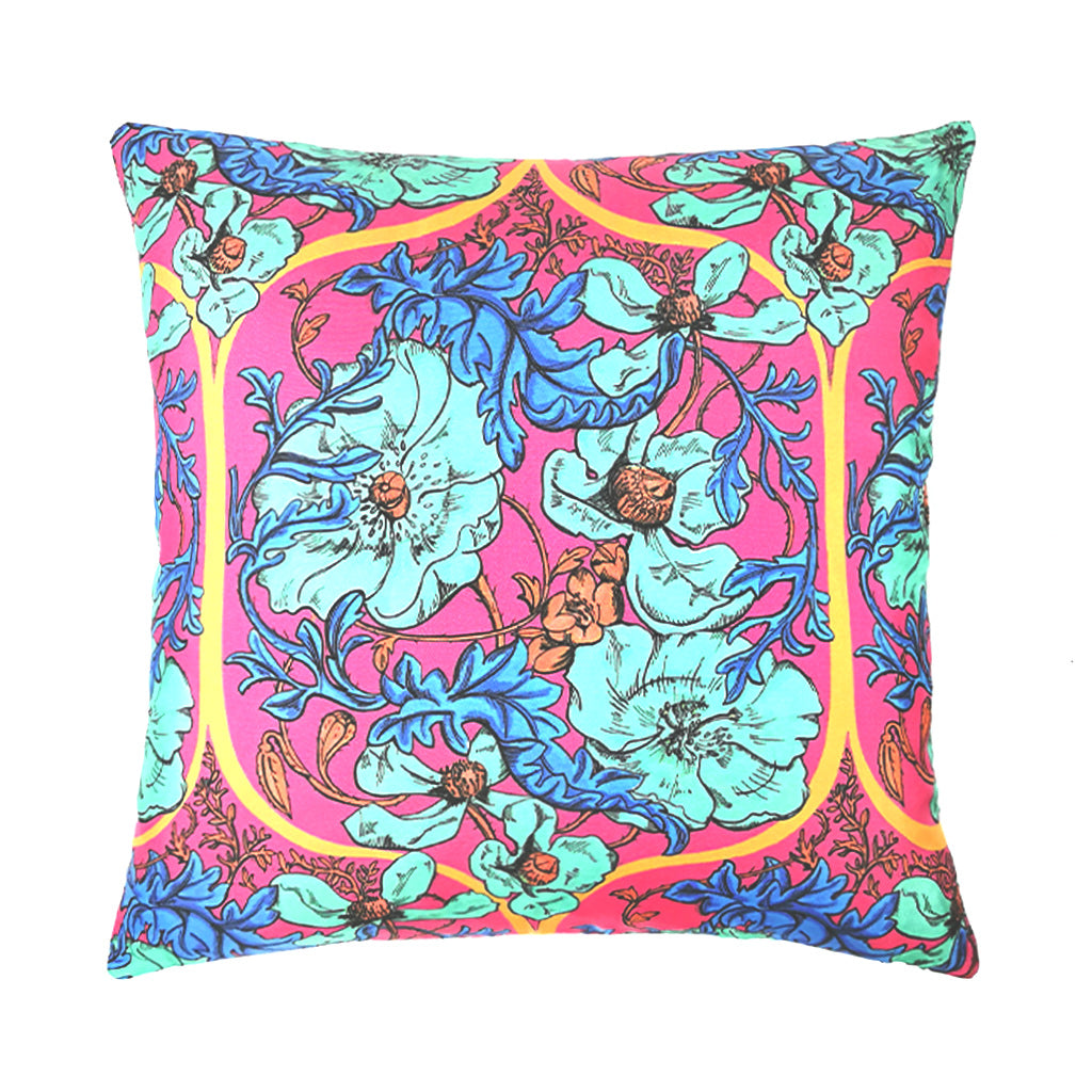 Taj Poppies Silk Cushion - Blue/Red