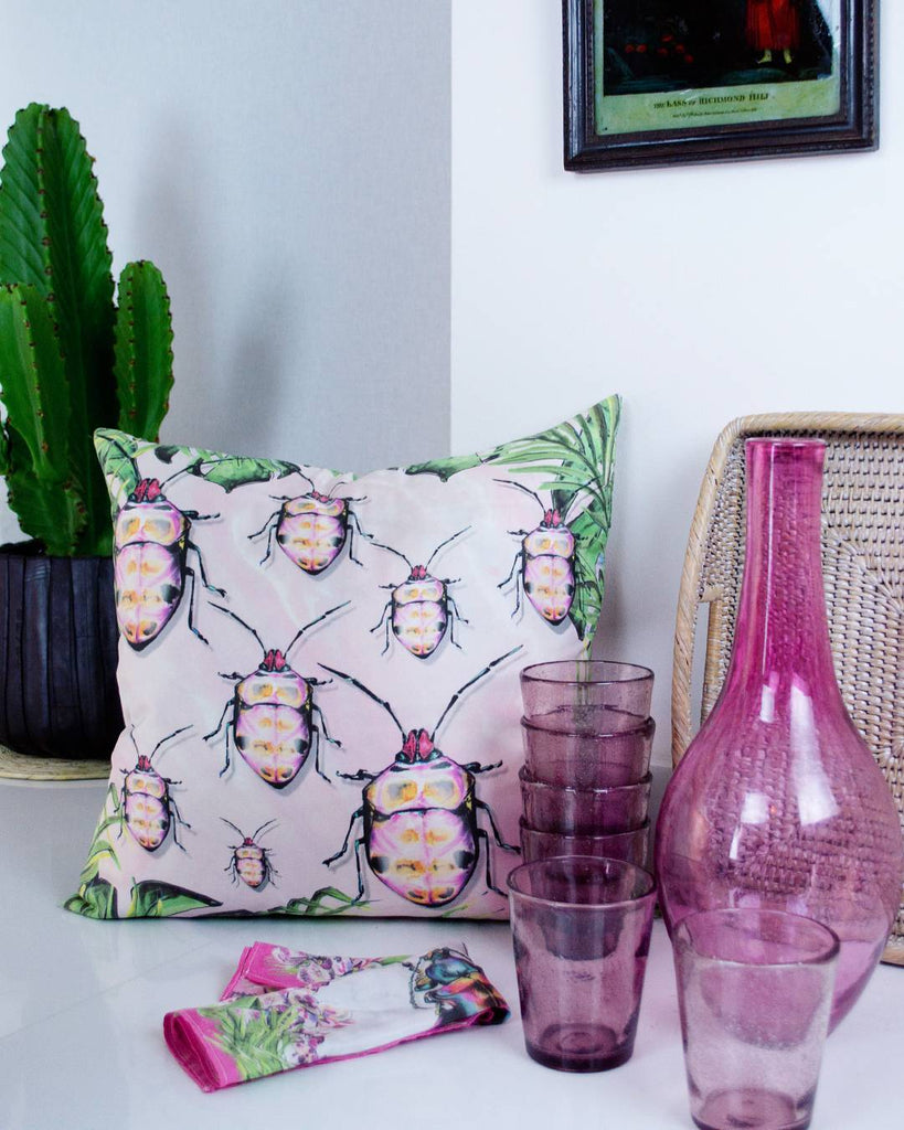 Pink Scutelleridae & Agate Silk Cushion