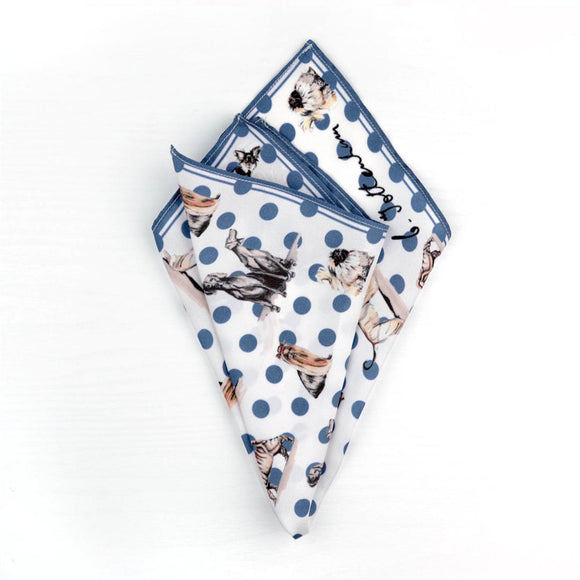 Dog print silk pocket square