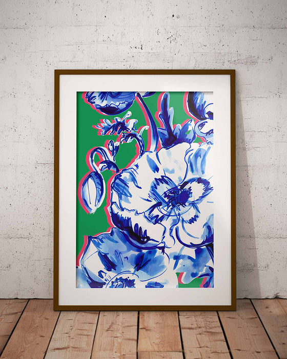 Inky Blue Poppies fine art print