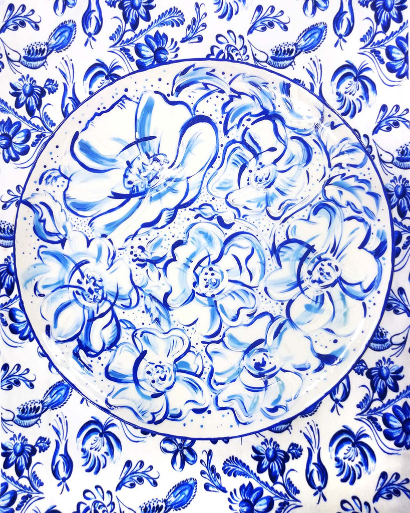 Cobalt Poppy Porcelain Charger Plate Hand Painted