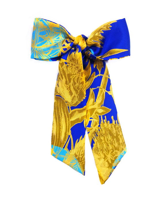 Teal blue gold yellow floral silk scarf handmade England UK United Kingdom Fashion Thin Scarf Silk neon bracelet silk bow purse bag handle pussybow pussy bow silk hair wrap tie