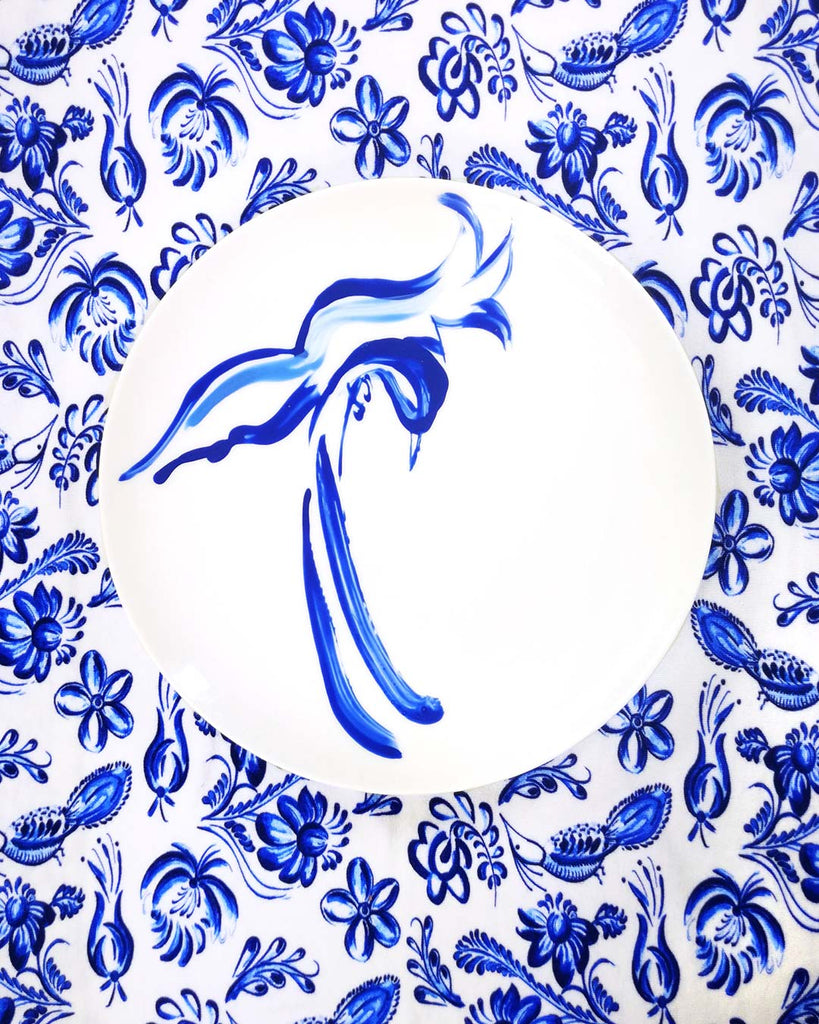 Cobalt Swallow Hand Painted Porcelain Side Plate Made In England
