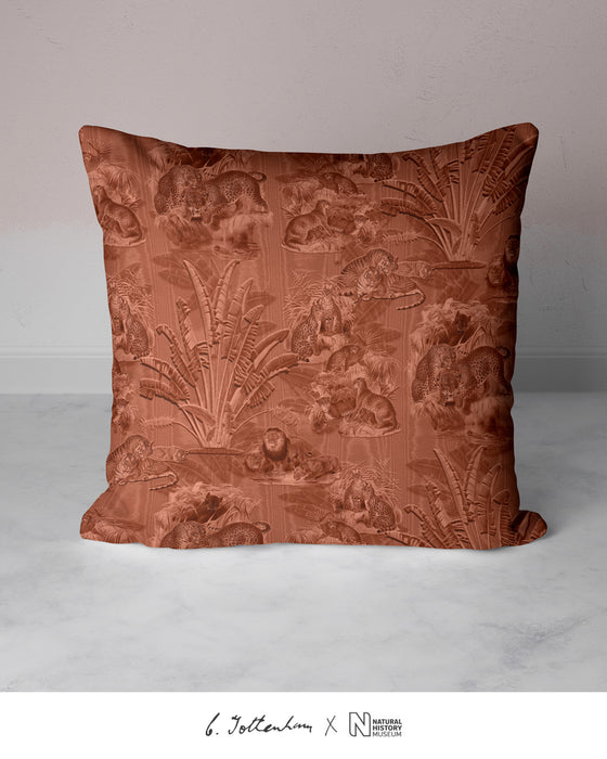 Big Cats Jungle Silk Cushion Burnt Orange