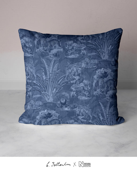 Big Cats Jungle Silk Cushion Navy