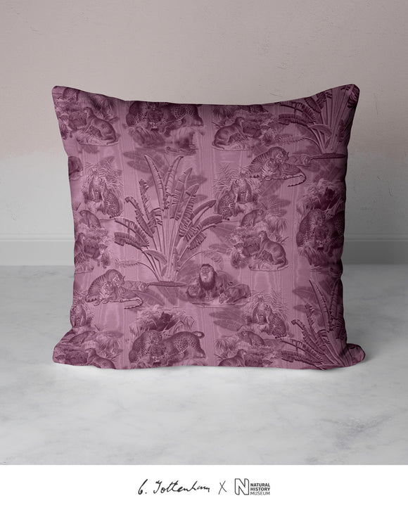 Big Cats Jungle Silk Cushion Thulian Pink