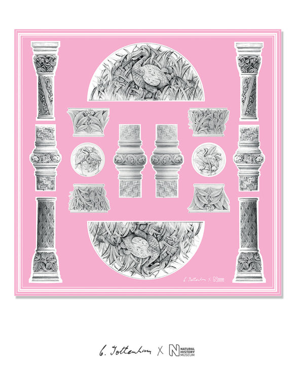 Waterhouse Romanesque Columns Silk Square Pink