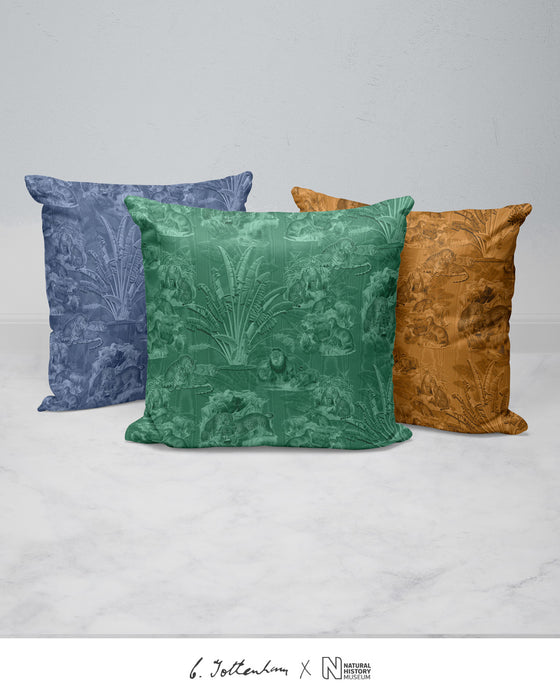 Big Cats Jungle Silk Cushion Green