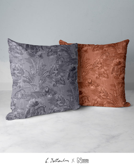 Big Cats Jungle Silk Cushion Silver Grey