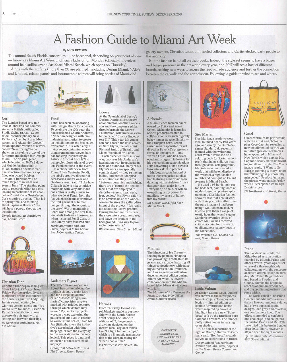 "New York Times Magazine December 2017 ""A Fashion Guide to Miami Art Week"" Miansai x MOIC screw cuff See publication here"