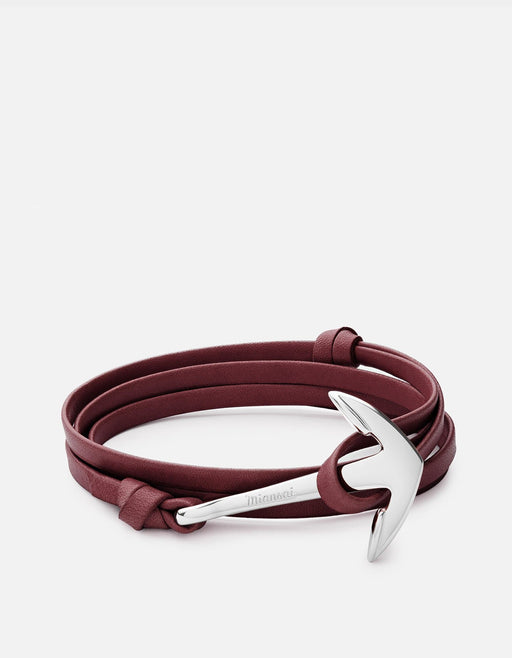 Anchor on Leather, Silver | Men's and Women's Bracelets | Miansai