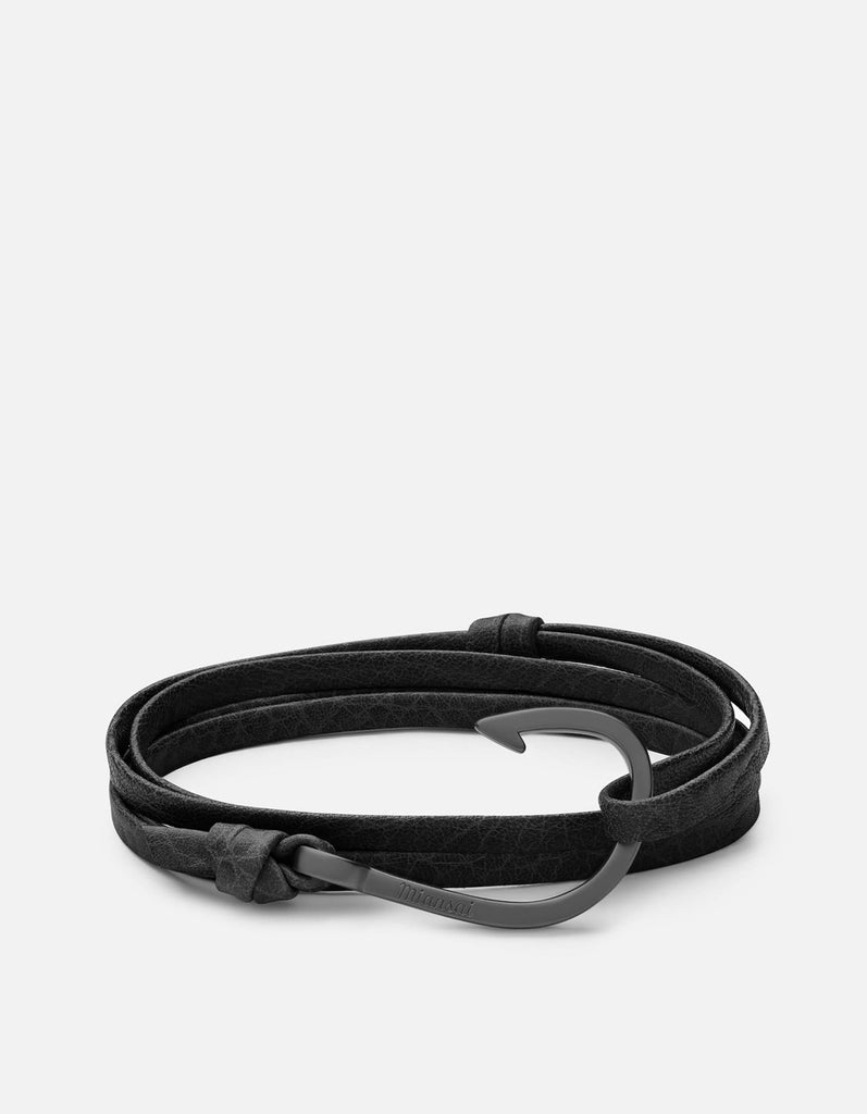 Hook on Leather, Matte Black Rhodium | Men's Bracelets | Miansai