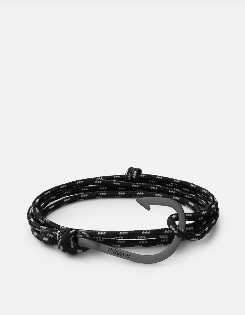 Hook on Rope, Matte Black Rhodium | Men's Bracelets | Miansai
