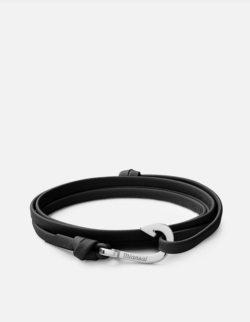 Mini-Hook on Thin Leather, Silver | Women's Bracelets | Miansai
