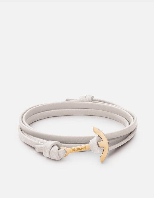 Mini Modern Anchor on Thin Leather, Gold | Women's Bracelets | Miansai