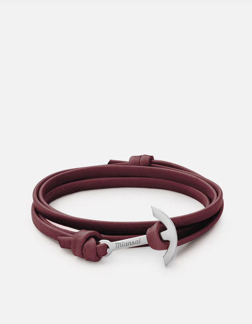 Mini Modern Anchor on Leather, Silver | Women's Bracelets | Miansai