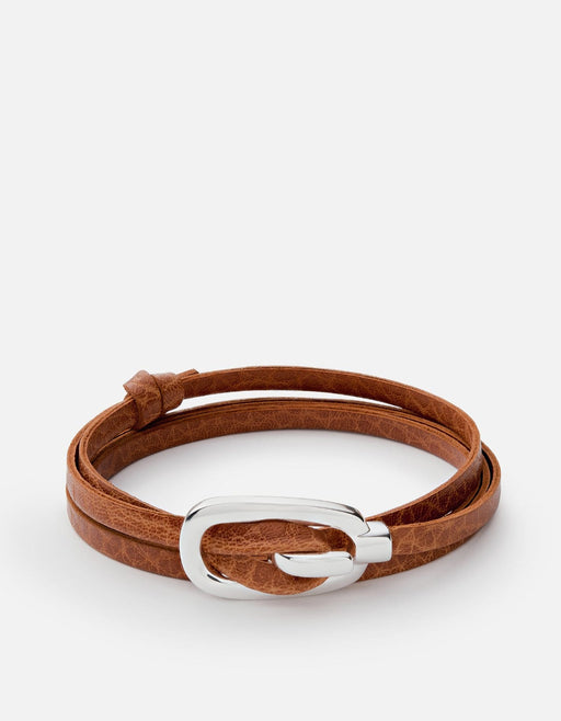 New Gamle Leather Bracelet, Silver Plated