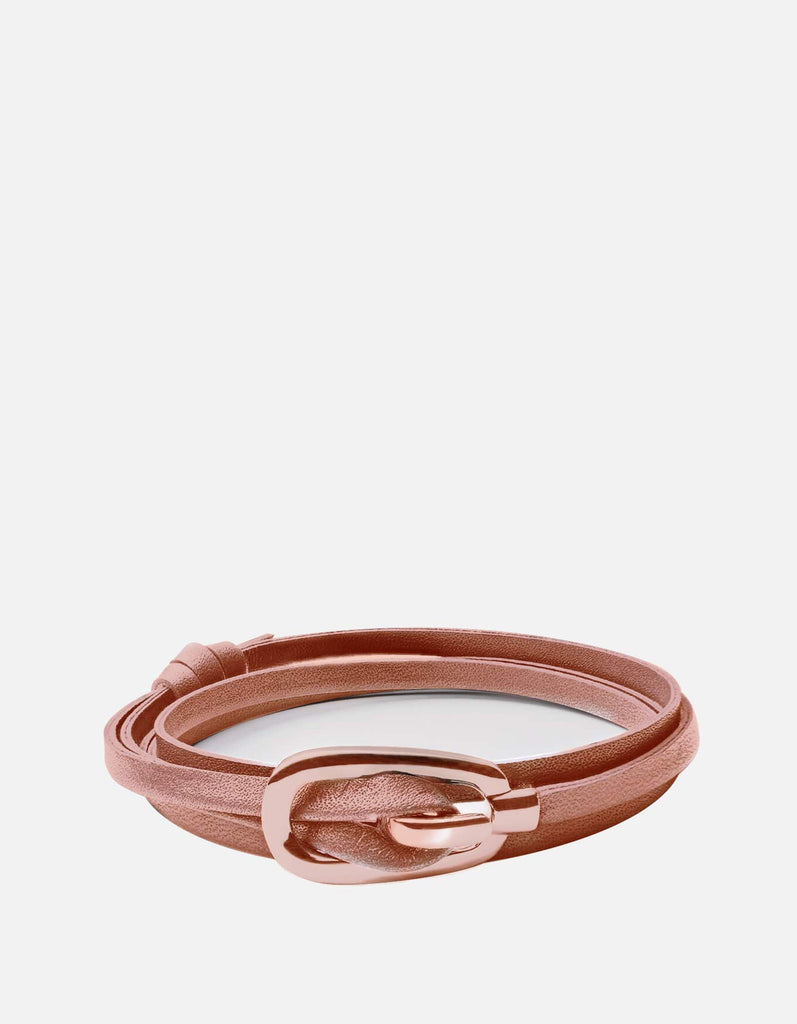 Miansai - New Gamle Leather Bracelet, Rose Plated
